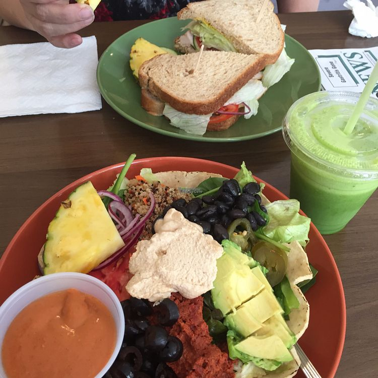 """Photo of Lettuce In  by <a href=""""/members/profile/btch980"""">btch980</a> <br/>vegan taco salad, turkey sandwich, green smoothie <br/> October 16, 2016  - <a href='/contact/abuse/image/42961/182306'>Report</a>"""