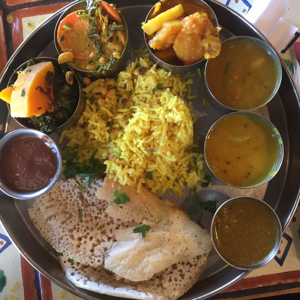 """Photo of Annapurna's World Vegetarian Cafe  by <a href=""""/members/profile/Kris10mo"""">Kris10mo</a> <br/>vegan Thaali plate <br/> March 30, 2017  - <a href='/contact/abuse/image/4298/242745'>Report</a>"""