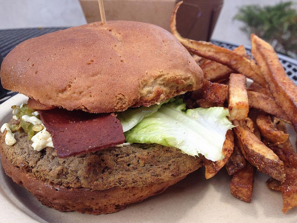 Photo of Annapurna's World Vegetarian Cafe  by RamblingVegans <br/>Veggie bacon cheese burger (all vegan) <br/> March 2, 2014  - <a href='/contact/abuse/image/4298/65092'>Report</a>