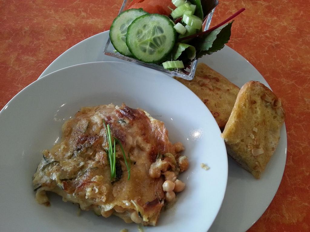 """Photo of CLOSED: Little Phatisserie  by <a href=""""/members/profile/Miggi"""">Miggi</a> <br/>vegan chickpea and courgette lasagne served with salad and garlic bread - £5 - brilliant value, lovely creamy sauce! <br/> February 17, 2014  - <a href='/contact/abuse/image/43052/64433'>Report</a>"""