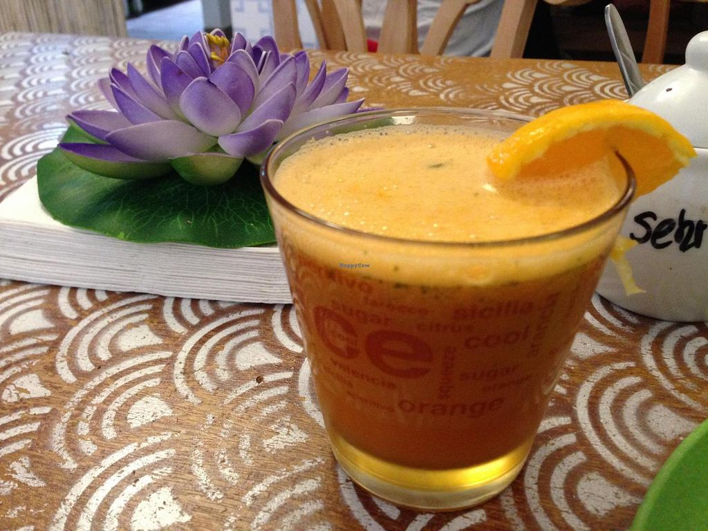 """Photo of Mei Wok  by <a href=""""/members/profile/Pamina"""">Pamina</a> <br/>Mei Wok, Cologne - fresh carrot juice <br/> August 18, 2014  - <a href='/contact/abuse/image/43054/77370'>Report</a>"""