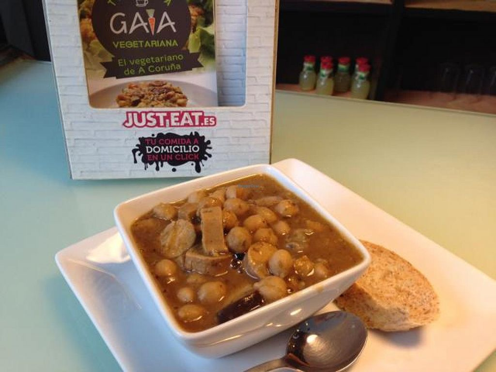 """Photo of CLOSED: Taberna Vegetariana Gaia  by <a href=""""/members/profile/Poganana"""">Poganana</a> <br/>tofu sausage, cheakpeas and mushroom ..'soup'? <br/> October 11, 2014  - <a href='/contact/abuse/image/43134/82653'>Report</a>"""