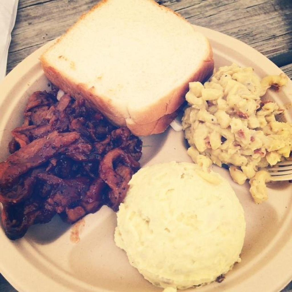 "Photo of BBQ Revolution  by <a href=""/members/profile/JuliaGarance"">JuliaGarance</a> <br/>BBQ soy curls, potato salad, and mac-n-cheeze  <br/> June 23, 2014  - <a href='/contact/abuse/image/43160/72569'>Report</a>"