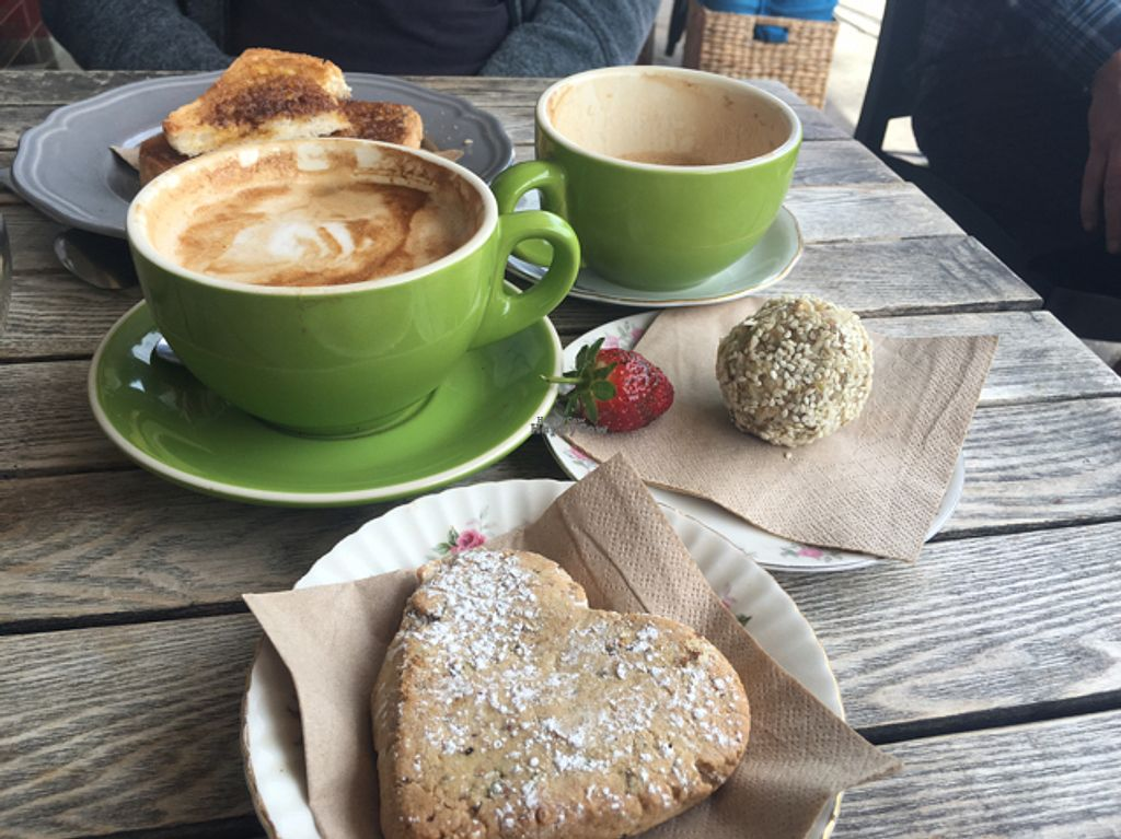 """Photo of CLOSED: Jazz Apple Kitchen  by <a href=""""/members/profile/Muzza"""">Muzza</a> <br/>Soy F/W with vegan pistachio shortbread and tahini ball.  <br/> August 28, 2016  - <a href='/contact/abuse/image/43232/171884'>Report</a>"""