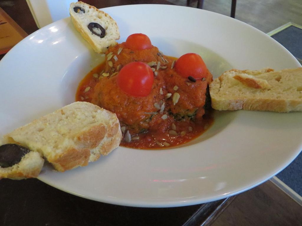 """Photo of Moccaklatsch  by <a href=""""/members/profile/VegiAnna"""">VegiAnna</a> <br/>spinach and grain dumplings with tomato sauce and homemade bread (all vegan) <br/> September 22, 2014  - <a href='/contact/abuse/image/43235/80653'>Report</a>"""