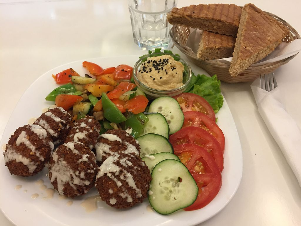 "Photo of Loving Hut  by <a href=""/members/profile/JurajKubelka"">JurajKubelka</a> <br/>Falafel with vegetables, humus, and bread <br/> September 2, 2017  - <a href='/contact/abuse/image/43238/300227'>Report</a>"
