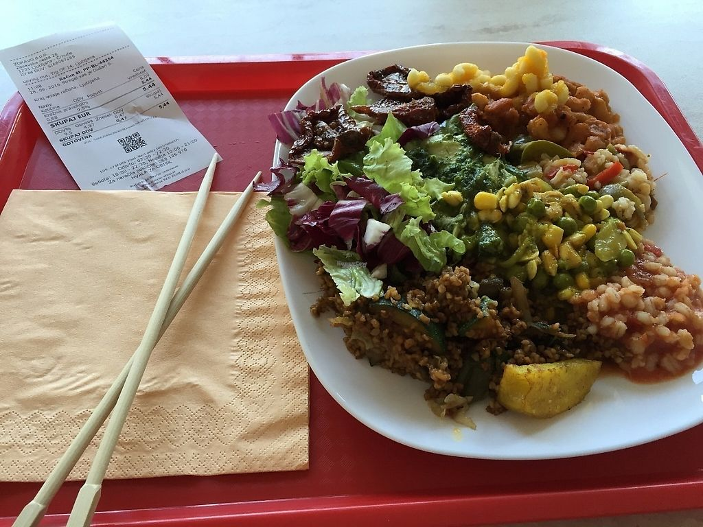 """Photo of Loving Hut - Ljubljana center  by <a href=""""/members/profile/rackoo"""">rackoo</a> <br/>Plate of buffet food <br/> December 13, 2016  - <a href='/contact/abuse/image/43251/200569'>Report</a>"""
