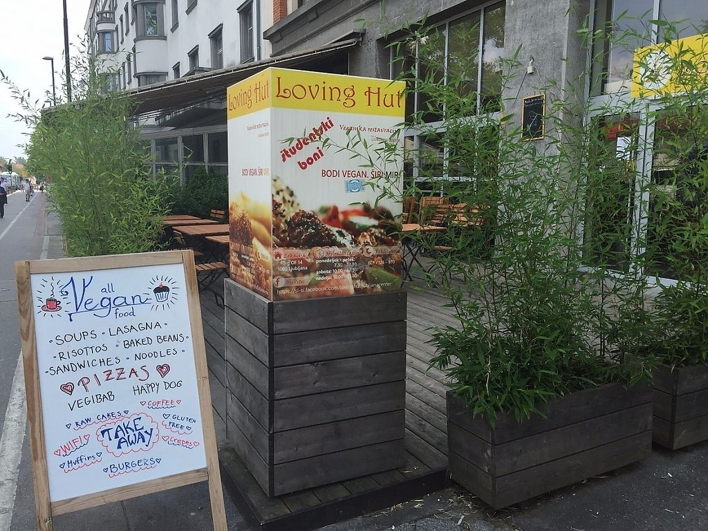 """Photo of Loving Hut - Ljubljana center  by <a href=""""/members/profile/rackoo"""">rackoo</a> <br/>Front of the store and patio <br/> December 13, 2016  - <a href='/contact/abuse/image/43251/200570'>Report</a>"""