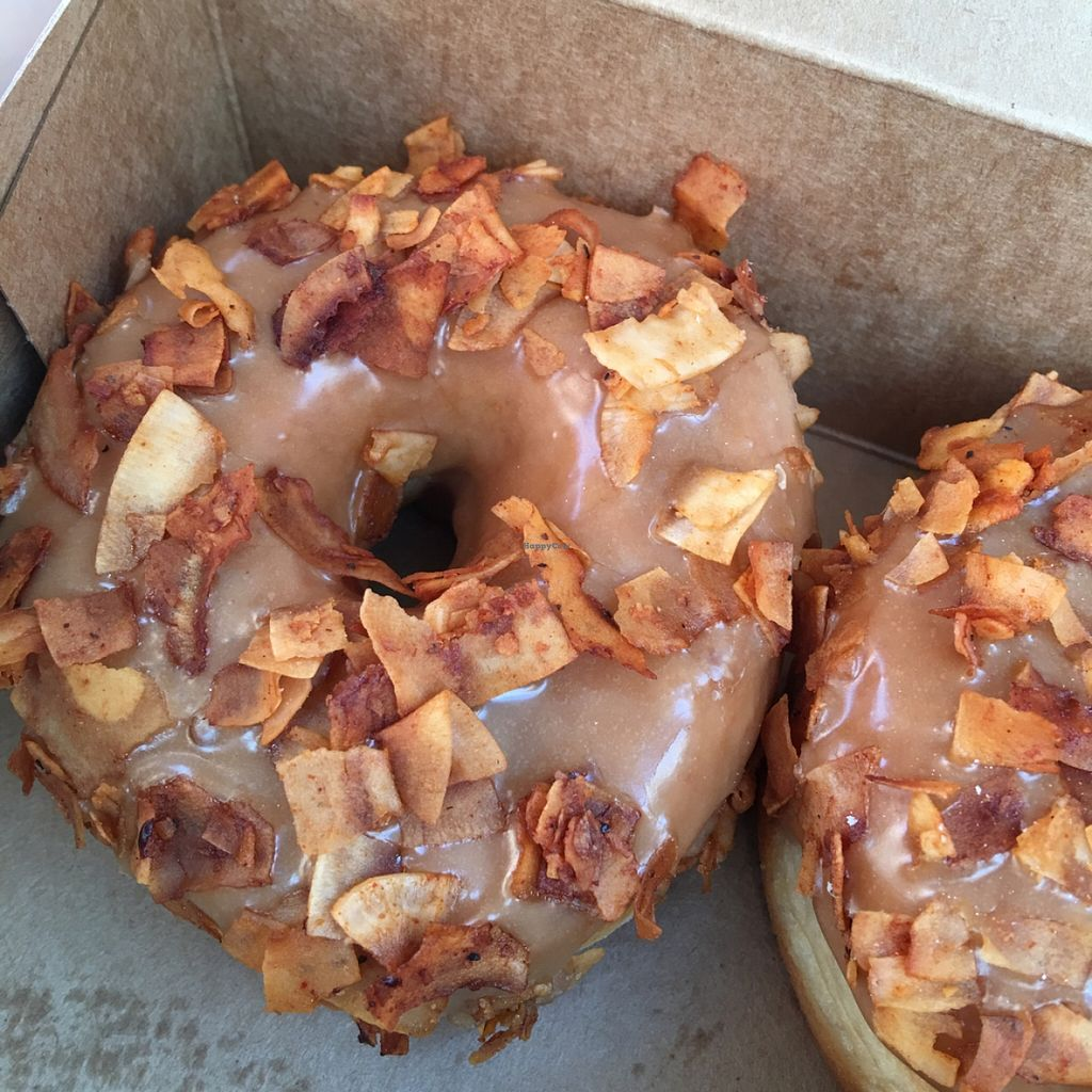 """Photo of Donut Friend  by <a href=""""/members/profile/xmrfigx"""">xmrfigx</a> <br/>Maple with coconut bacon (Bacon 182) <br/> May 1, 2016  - <a href='/contact/abuse/image/43258/147032'>Report</a>"""