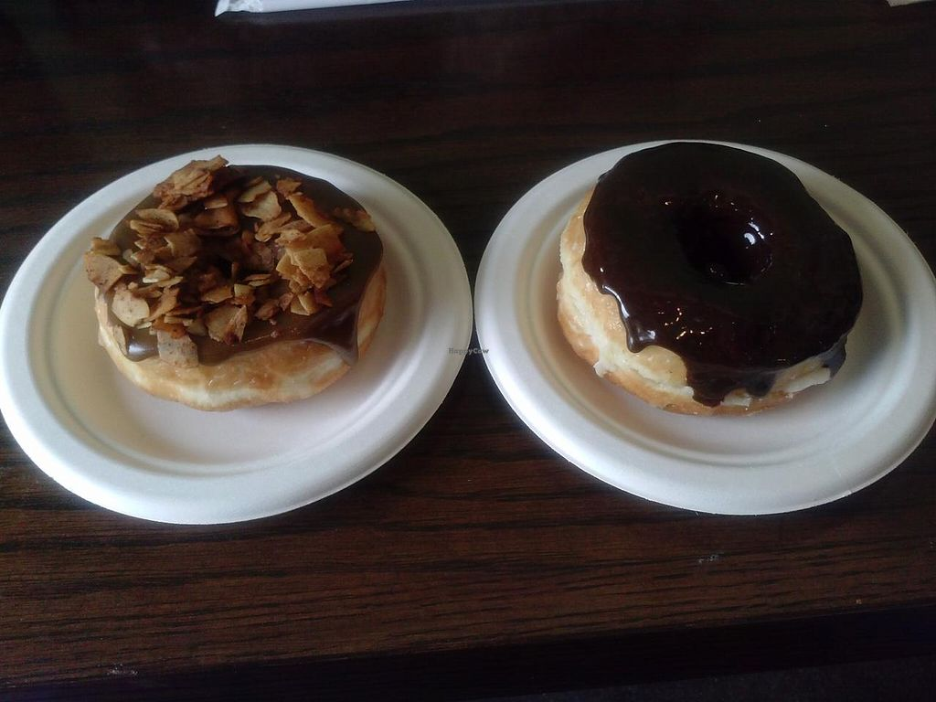 """Photo of Donut Friend  by <a href=""""/members/profile/Sonja%20and%20Dirk"""">Sonja and Dirk</a> <br/>Bacon 182 (with coconut bacon) and Custard Front Drive <br/> March 2, 2014  - <a href='/contact/abuse/image/43258/65170'>Report</a>"""