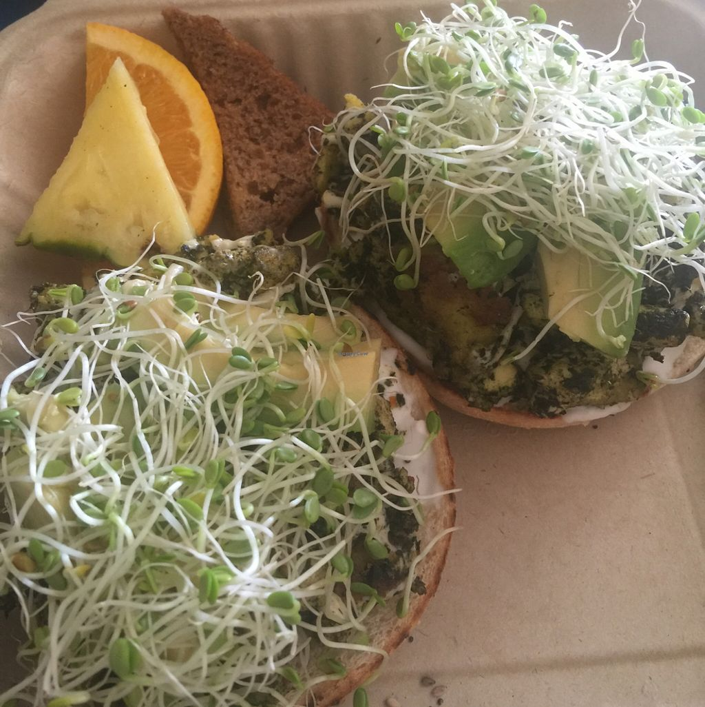 """Photo of Evolution Bakery and Cafe  by <a href=""""/members/profile/Surferchick2"""">Surferchick2</a> <br/>The Ghandi, vegan tofu scramble with added avocado on an everything bagel.  <br/> November 8, 2015  - <a href='/contact/abuse/image/43352/124338'>Report</a>"""
