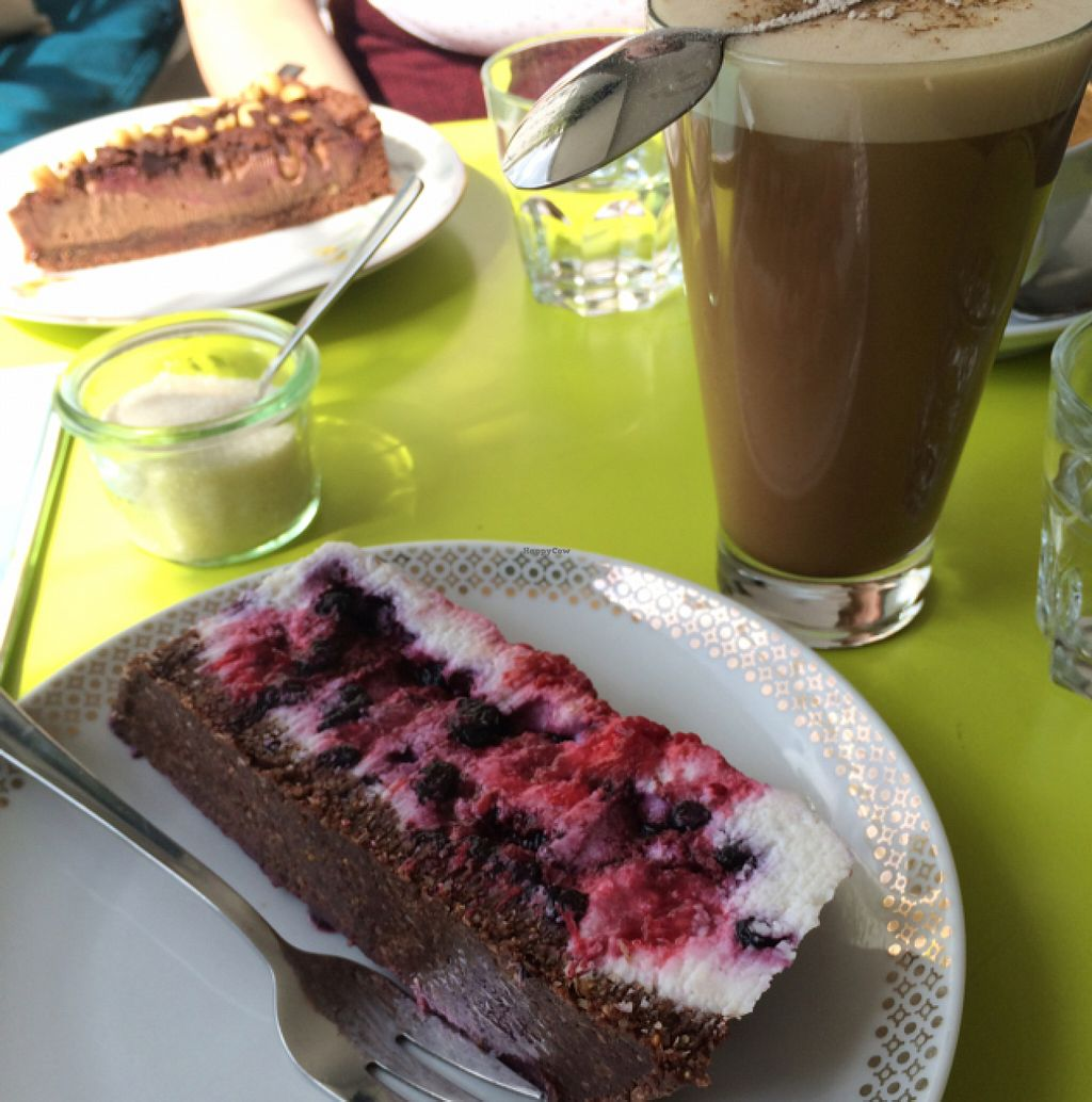 """Photo of Taracafe  by <a href=""""/members/profile/Strawberrymilkshake"""">Strawberrymilkshake</a> <br/>chai latte and raw coconut berry cake  <br/> July 25, 2016  - <a href='/contact/abuse/image/43386/162294'>Report</a>"""