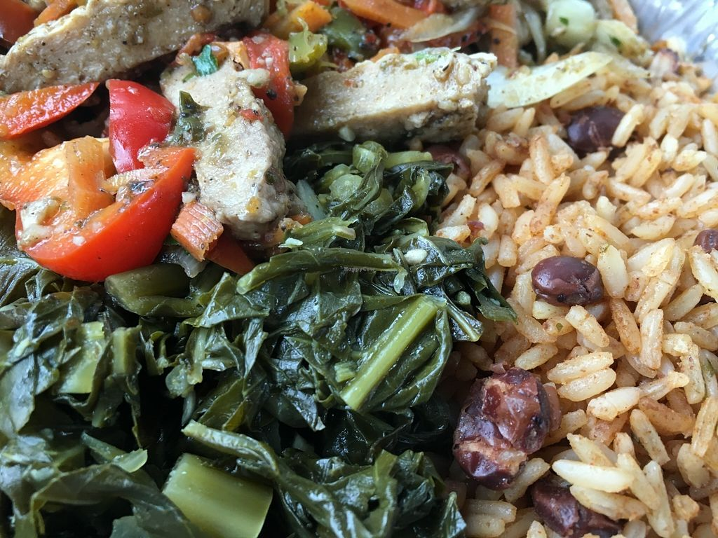 """Photo of Sunrise Caribbean  by <a href=""""/members/profile/cookiem"""">cookiem</a> <br/>Vegan jerk chicken w rice and peas plus callaloo  <br/> February 4, 2016  - <a href='/contact/abuse/image/43387/135038'>Report</a>"""