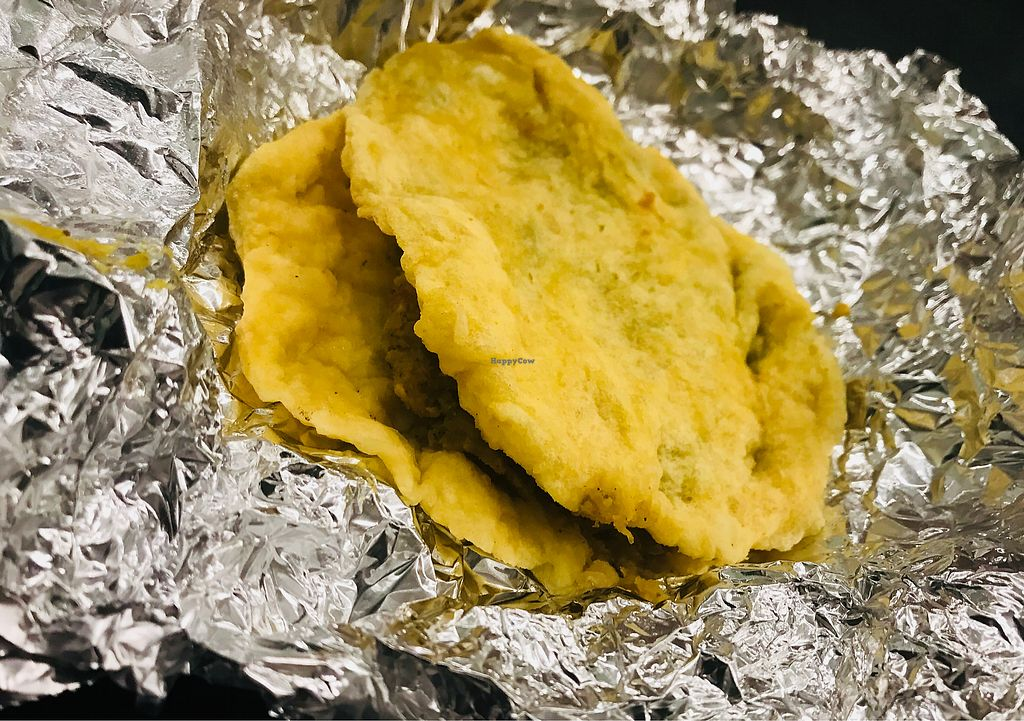"""Photo of Sunrise Caribbean  by <a href=""""/members/profile/aidalove"""">aidalove</a> <br/>Doubles (vegan fried dough filled with curried chickpea & potato) <br/> December 24, 2017  - <a href='/contact/abuse/image/43387/338559'>Report</a>"""