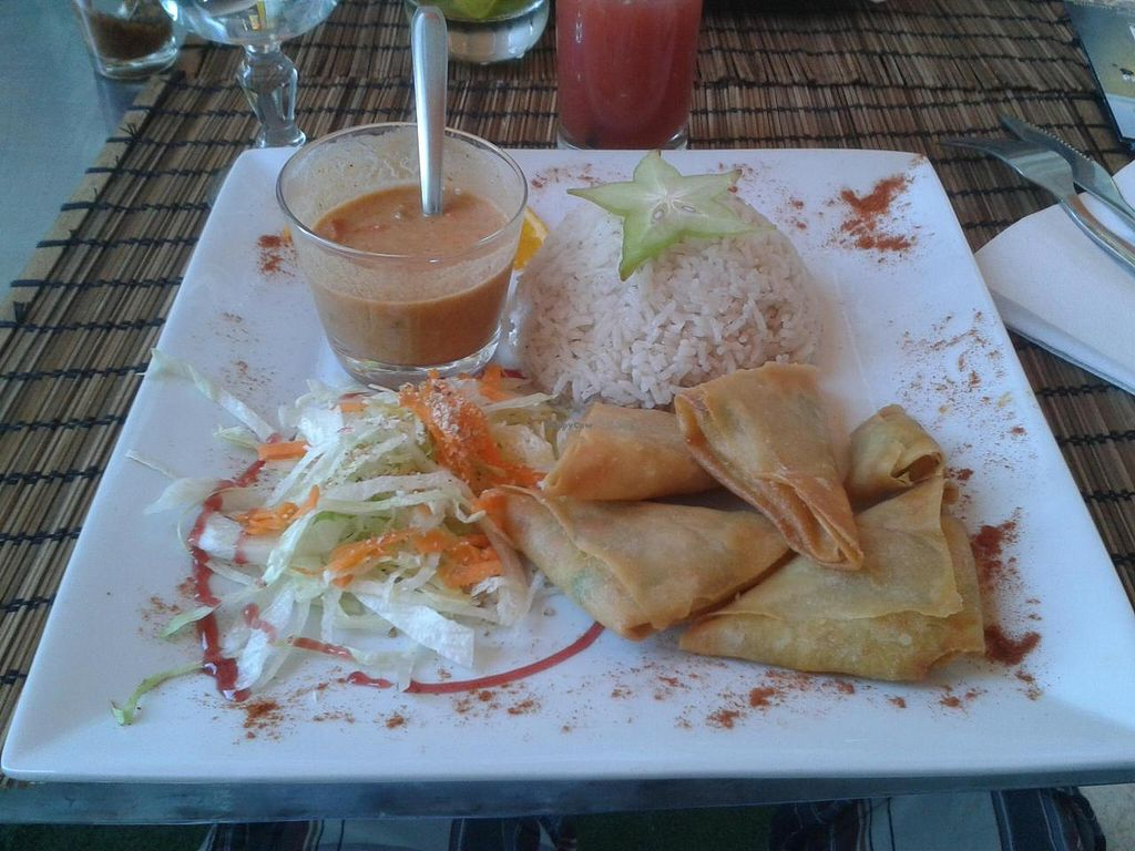 """Photo of Black Temple Food  by <a href=""""/members/profile/JonJon"""">JonJon</a> <br/>Vegetable samossas with rice and salad <br/> June 25, 2014  - <a href='/contact/abuse/image/43435/72705'>Report</a>"""