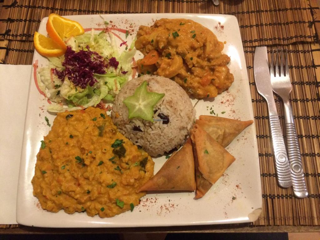"""Photo of Black Temple Food  by <a href=""""/members/profile/Pako"""">Pako</a> <br/>19€ plate with the 3 vegan friendly dishes <br/> March 4, 2015  - <a href='/contact/abuse/image/43435/94883'>Report</a>"""