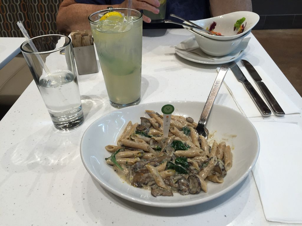 """Photo of LYFE Kitchen - River North  by <a href=""""/members/profile/AmiMIchelle"""">AmiMIchelle</a> <br/>penne with mushrooms and mint lemonade  <br/> October 12, 2015  - <a href='/contact/abuse/image/43440/121083'>Report</a>"""