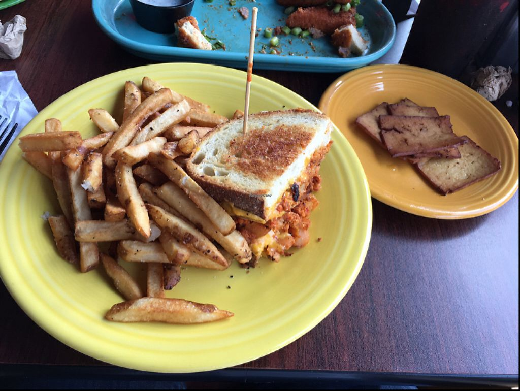 """Photo of Melt Bar & Grilled - High St  by <a href=""""/members/profile/pjminer3"""">pjminer3</a> <br/>Vegan Chorizo Potato Sandwich with a side of tofu bacon <br/> May 18, 2017  - <a href='/contact/abuse/image/43446/259963'>Report</a>"""