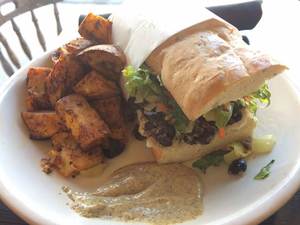"""Photo of Whyld Ass Coffee Shop  by <a href=""""/members/profile/Pearlpeachy"""">Pearlpeachy</a> <br/>Po'Boy sandwich with housemade black bean tempeh, bread and mustard! <br/> April 15, 2017  - <a href='/contact/abuse/image/43474/248487'>Report</a>"""