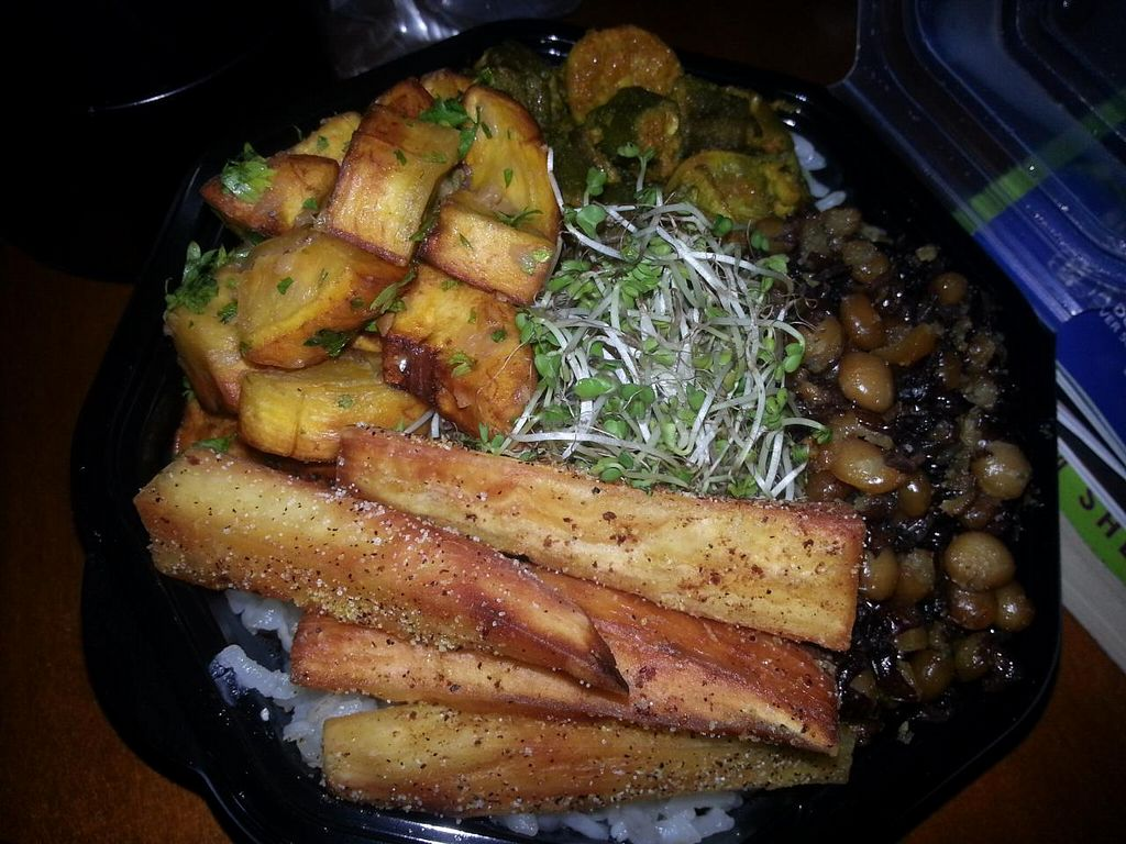 """Photo of CLOSED: Da Bahamian Vegan  by <a href=""""/members/profile/butikiteas"""">butikiteas</a> <br/> """"It's A Bahamian Ting"""" rice bowl which had Spanish thyme Arborio rice, maple curry roasted okra, garlic & parsley green plantain croutons, crispy sea salt pigeon peas, lemon pepper cassava wedges and sprouts with Yum Yum sauce <br/> February 12, 2015  - <a href='/contact/abuse/image/43482/92914'>Report</a>"""