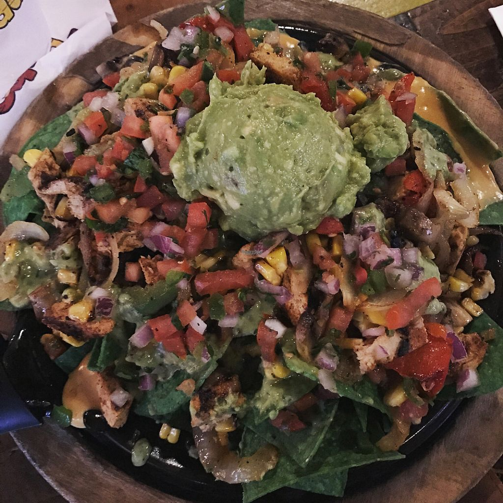 """Photo of Nacho Daddy  by <a href=""""/members/profile/Tashapfeiffer"""">Tashapfeiffer</a> <br/>Vegan Chick'n Nachos with guac <br/> March 26, 2017  - <a href='/contact/abuse/image/43486/241010'>Report</a>"""