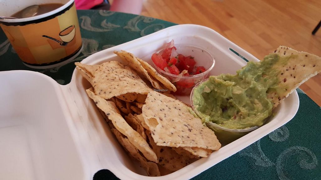 """Photo of CLOSED: Maize 'N' Manna Wholefoods  by <a href=""""/members/profile/alesloan"""">alesloan</a> <br/>Freshly-made guacamole and nachos, a cup of soup in the background <br/> July 7, 2015  - <a href='/contact/abuse/image/43529/108503'>Report</a>"""
