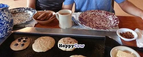"""Photo of The Old Spanish Sugar Mill  by <a href=""""/members/profile/kmilitello"""">kmilitello</a> <br/>Vegan pancakes and vegan sausage! Ignore the butter... it was for the dairy eaters on the other side of the table! <br/> December 2, 2013  - <a href='/contact/abuse/image/43533/59702'>Report</a>"""