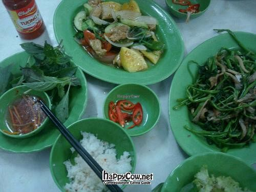 """Photo of Dinh Y  by <a href=""""/members/profile/ViolaineB"""">ViolaineB</a> <br/>Mock meat feast, fake pork with cucumbers, pineapple, morning glory and mushrooms... Not too sweet, quite healthy for Saigon <br/> April 27, 2012  - <a href='/contact/abuse/image/4353/31077'>Report</a>"""