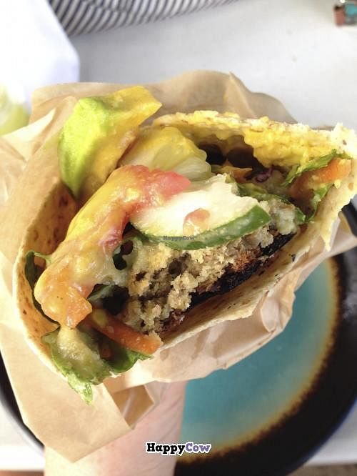 """Photo of Ital Creations - Food Stall  by <a href=""""/members/profile/LynnGilmartin"""">LynnGilmartin</a> <br/>A delicious veggie wrap with papaya dressing - YUM!  <br/> November 30, 2013  - <a href='/contact/abuse/image/43557/59493'>Report</a>"""