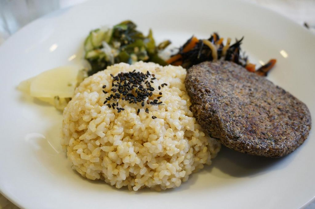 """Photo of Always Laughing Cafe  by <a href=""""/members/profile/Ricardo"""">Ricardo</a> <br/>Macrobiotic burger plate (vegan) 880yen <br/> July 20, 2014  - <a href='/contact/abuse/image/43586/74508'>Report</a>"""