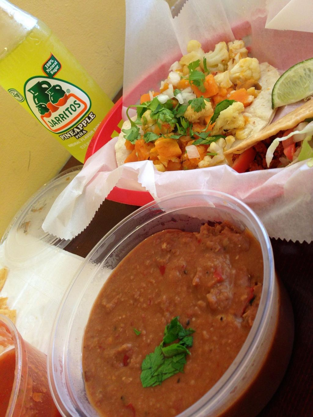 "Photo of El Burro - Northside  by <a href=""/members/profile/jessgrif"">jessgrif</a> <br/>Sweet potato & cauliflower taco, soy chorizo taco, refried beans <br/> June 22, 2014  - <a href='/contact/abuse/image/43633/72533'>Report</a>"