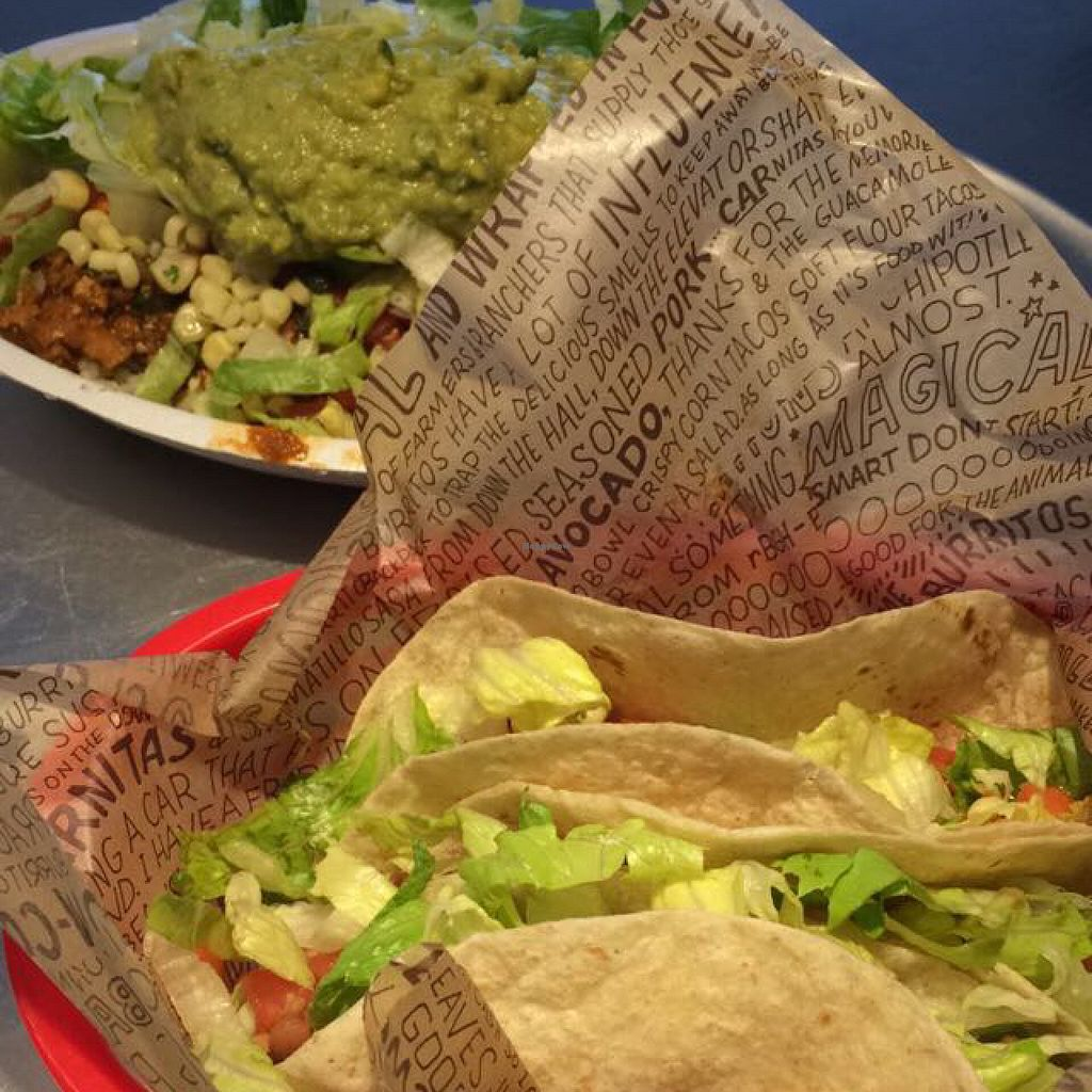 "Photo of Chipotle  by <a href=""/members/profile/veggiehobbit"">veggiehobbit</a> <br/>sofritas tacos and burrito bowl <br/> August 9, 2015  - <a href='/contact/abuse/image/43649/112922'>Report</a>"