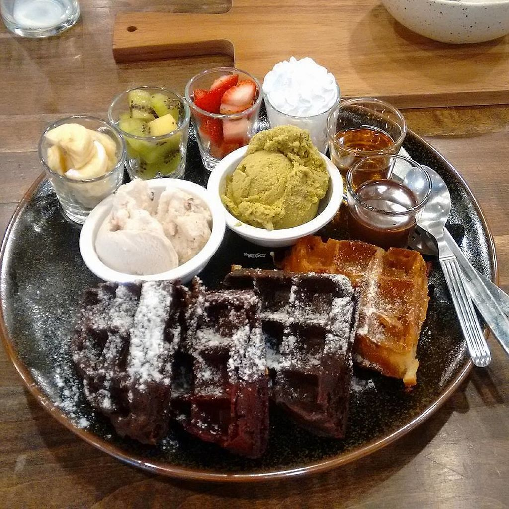 Photo of Veganerie - Mercury Ville  by Bonobojt <br/>waffles, ice cream, fruit <br/> November 16, 2016  - <a href='/contact/abuse/image/43651/190973'>Report</a>