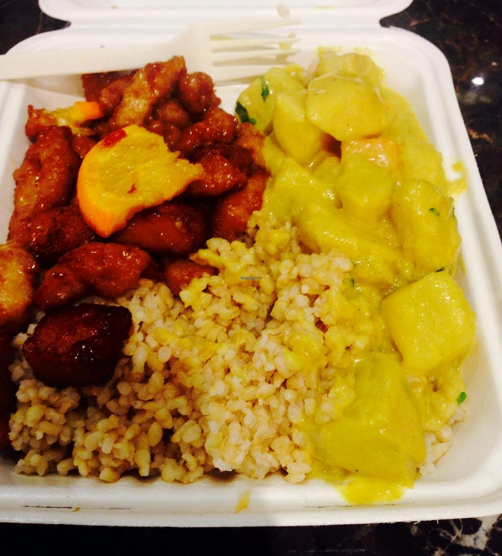 """Photo of Loving Hut  by <a href=""""/members/profile/Veganessa"""">Veganessa</a> <br/>Brown rice, Orange Treasure(soy), yellow curry with potatoes and carrots <br/> December 26, 2013  - <a href='/contact/abuse/image/43665/60989'>Report</a>"""