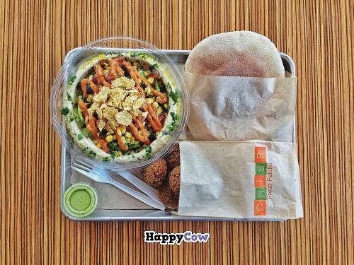 "Photo of CLOSED: Crisp  by <a href=""/members/profile/jsmakr"">jsmakr</a> <br/>Crisp's Baja Hummus salad bowl with falafel and a fresh pita <br/> December 2, 2013  - <a href='/contact/abuse/image/43685/59706'>Report</a>"