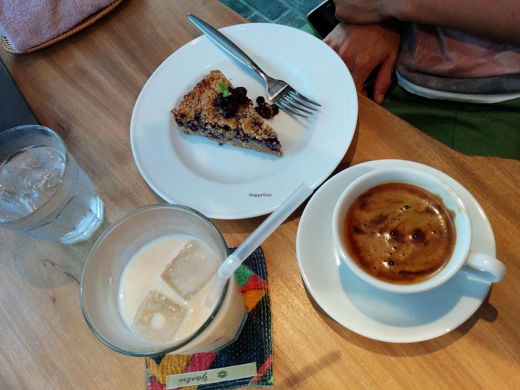 """Photo of Sairam  by <a href=""""/members/profile/eatinggreen"""">eatinggreen</a> <br/>Non-caffeine grain coffee, banana amazake and blueberry tart (tart of the day) <br/> September 6, 2014  - <a href='/contact/abuse/image/43697/79239'>Report</a>"""