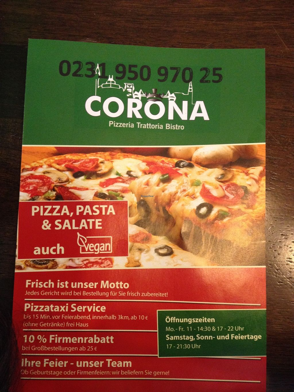 "Photo of Corona Pizzeria and Trattoria  by <a href=""/members/profile/saku"">saku</a> <br/>Menu 2015 <br/> August 24, 2015  - <a href='/contact/abuse/image/43698/114935'>Report</a>"