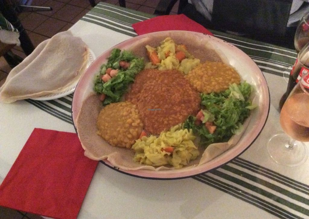 """Photo of Nyala  by <a href=""""/members/profile/AndreaD"""">AndreaD</a> <br/>Vegan mixed platter with Injera bread <br/> September 26, 2015  - <a href='/contact/abuse/image/43707/119185'>Report</a>"""