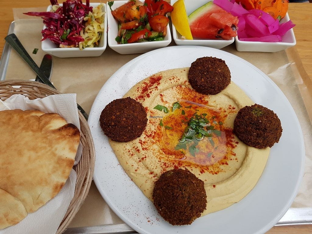 """Photo of Mezze Hummus & Falafel  by <a href=""""/members/profile/Mirage"""">Mirage</a> <br/>hummus & falafel on plate <br/> August 6, 2017  - <a href='/contact/abuse/image/43711/289720'>Report</a>"""