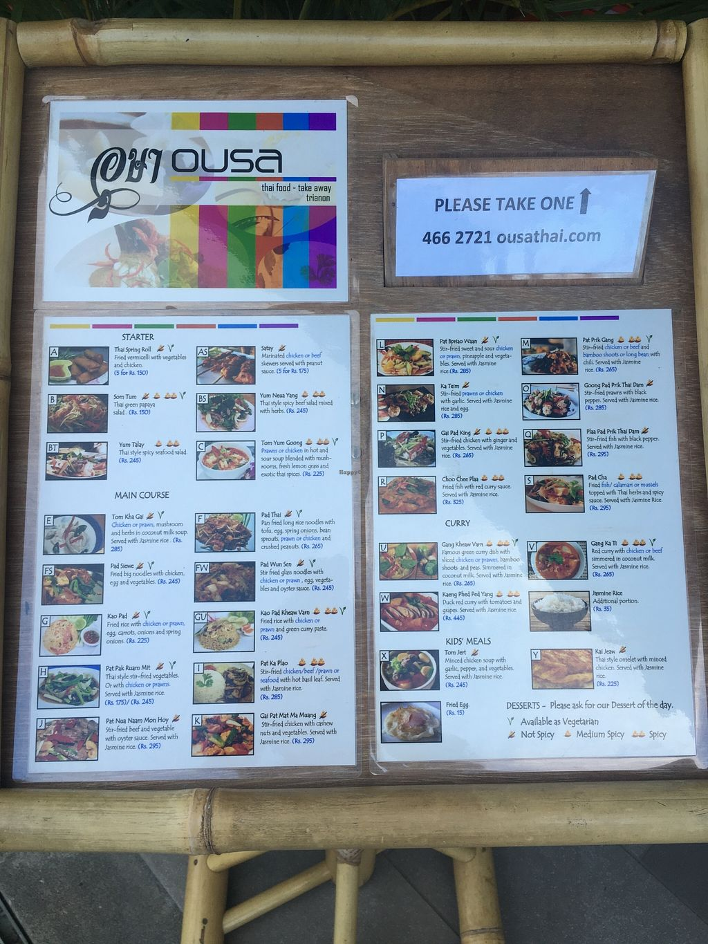 Photo of Ousa Thai Food  by Navegante <br/>Menu, Dec 2015 <br/> December 10, 2015  - <a href='/contact/abuse/image/43742/127880'>Report</a>