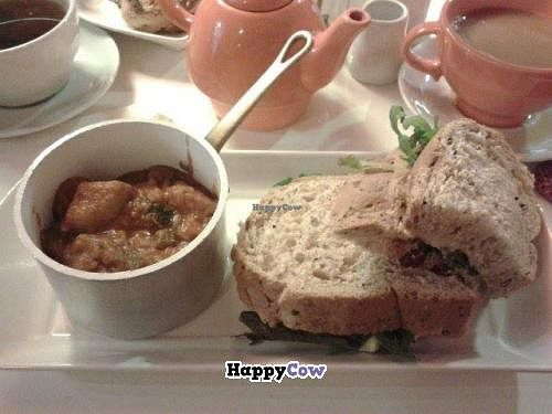 """Photo of Jumping Bean Cafe  by <a href=""""/members/profile/saramarshall"""">saramarshall</a> <br/>Spanish stew with hummus, sundried tomato & olive sandwich <br/> December 16, 2013  - <a href='/contact/abuse/image/43811/60360'>Report</a>"""