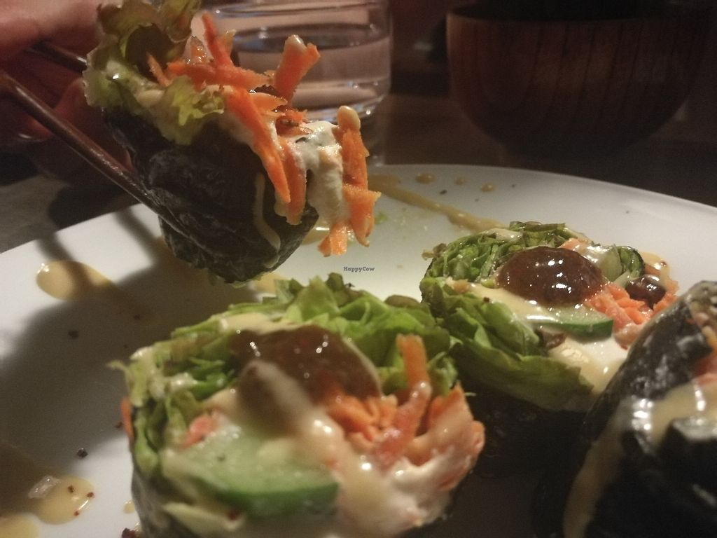 """Photo of Organic House Salute  by <a href=""""/members/profile/Saltakatten"""">Saltakatten</a> <br/>Vegetarian raw spring rolls - delicious <br/> August 14, 2017  - <a href='/contact/abuse/image/43818/292582'>Report</a>"""