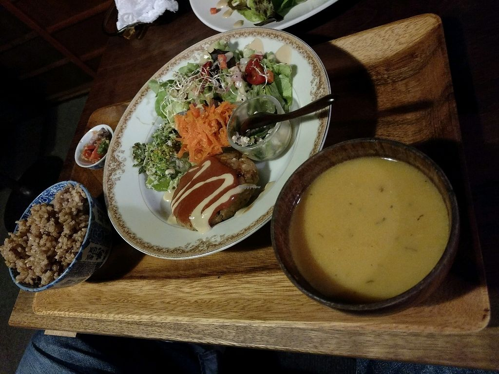 """Photo of Organic House Salute  by <a href=""""/members/profile/barbicanben"""">barbicanben</a> <br/>soy meat burger plate <br/> April 7, 2018  - <a href='/contact/abuse/image/43818/381784'>Report</a>"""