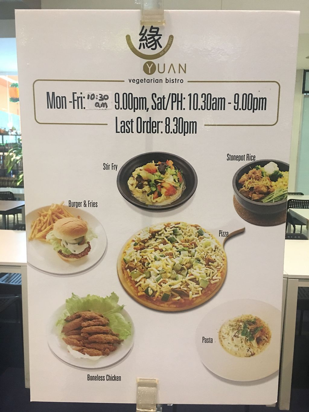 """Photo of Yuan Vegetarian Bistro  by <a href=""""/members/profile/BernardKoh"""">BernardKoh</a> <br/>Opening Hours <br/> February 20, 2018  - <a href='/contact/abuse/image/43835/361560'>Report</a>"""