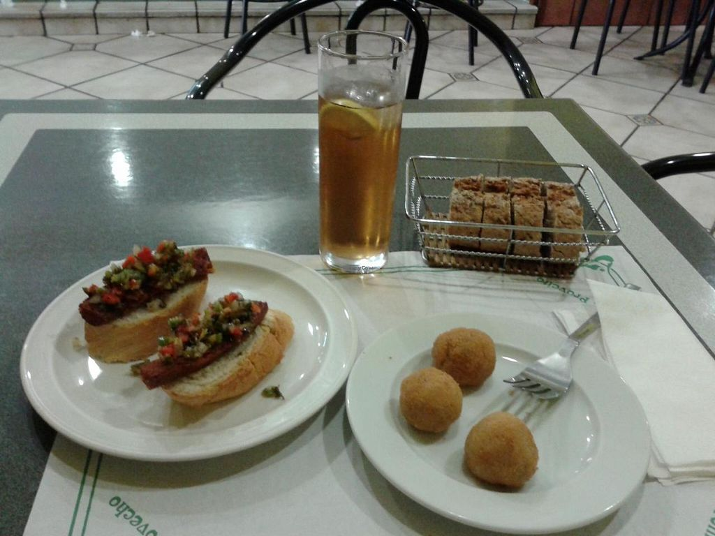 """Photo of El Sol  by <a href=""""/members/profile/Nihacc"""">Nihacc</a> <br/>Vegan chorizo with chimichurri sauce, and croquettes <br/> July 31, 2014  - <a href='/contact/abuse/image/43885/75666'>Report</a>"""