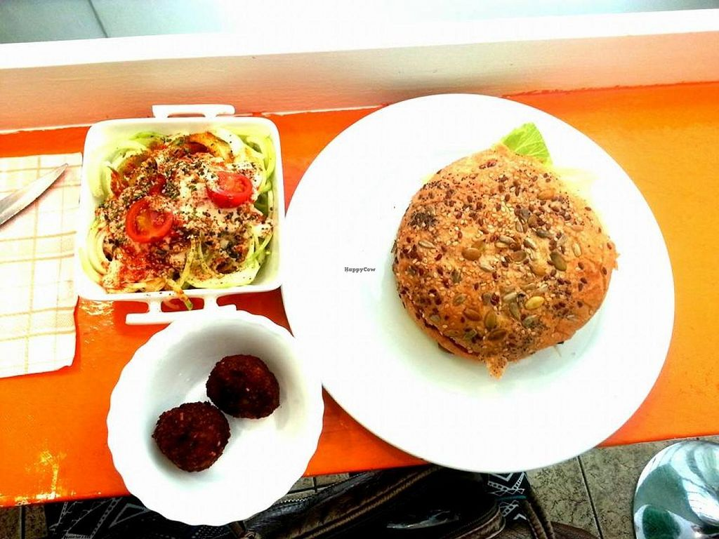 """Photo of CLOSED: Green Break Vegan Restaurant  by <a href=""""/members/profile/mininanina"""">mininanina</a> <br/>burguer and raw spaggeti <br/> June 7, 2015  - <a href='/contact/abuse/image/43886/105018'>Report</a>"""