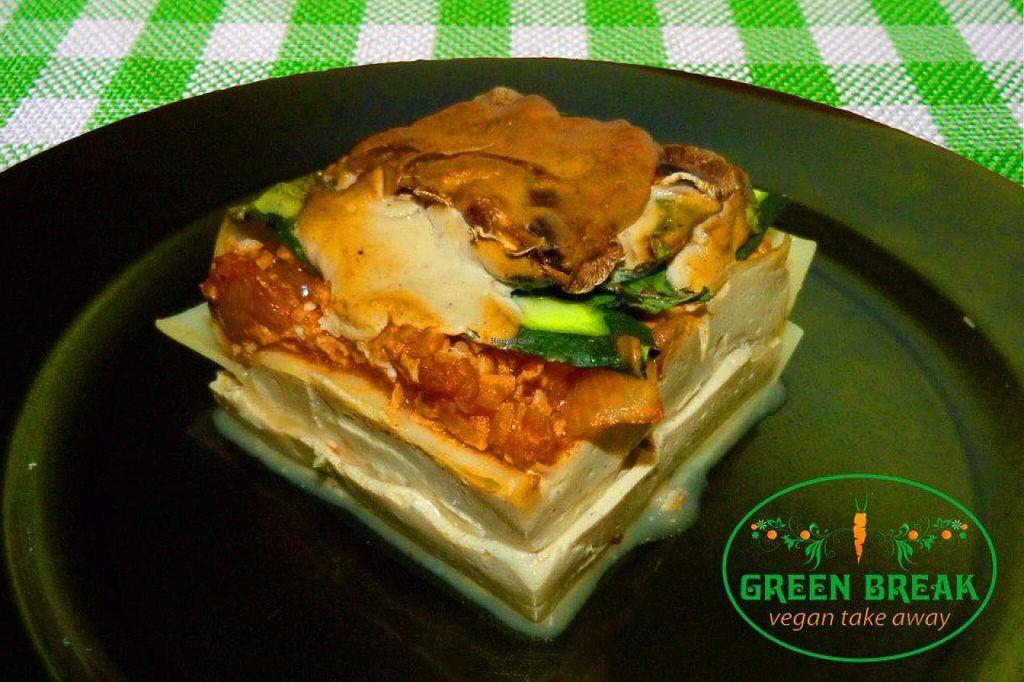 "Photo of CLOSED: Green Break Vegan Restaurant  by <a href=""/members/profile/mininanina"">mininanina</a> <br/>lasagna! <br/> January 3, 2014  - <a href='/contact/abuse/image/43886/61597'>Report</a>"