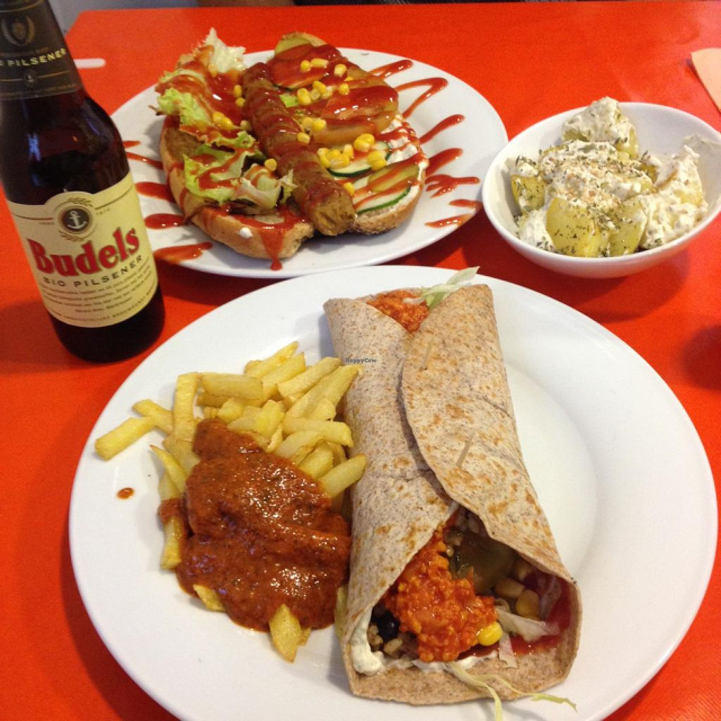 """Photo of CLOSED: Green Break Vegan Restaurant  by <a href=""""/members/profile/Necia11"""">Necia11</a> <br/>burrito and hot dog  <br/> April 16, 2015  - <a href='/contact/abuse/image/43886/99207'>Report</a>"""
