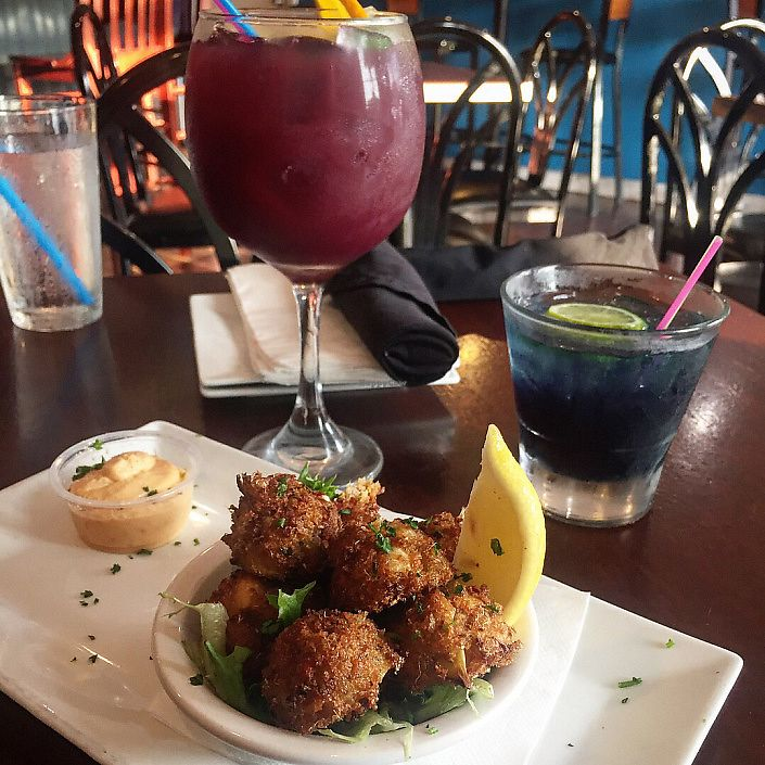 """Photo of Flight - American Fusion Restaurant & Bar  by <a href=""""/members/profile/MeganGriffith"""">MeganGriffith</a> <br/>their amazing crab balls and a sangria <br/> August 29, 2017  - <a href='/contact/abuse/image/43894/298615'>Report</a>"""