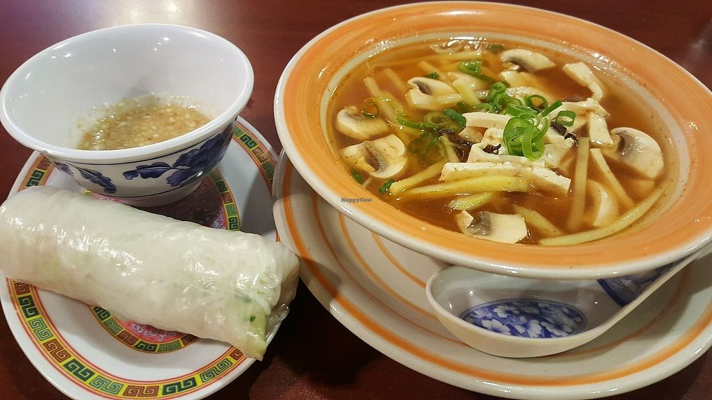 """Photo of Phnom Penh  by <a href=""""/members/profile/Tots"""">Tots</a> <br/>vegetarian Rice Paper Roll and Hot Tofu Soup <br/> September 10, 2017  - <a href='/contact/abuse/image/43896/302759'>Report</a>"""